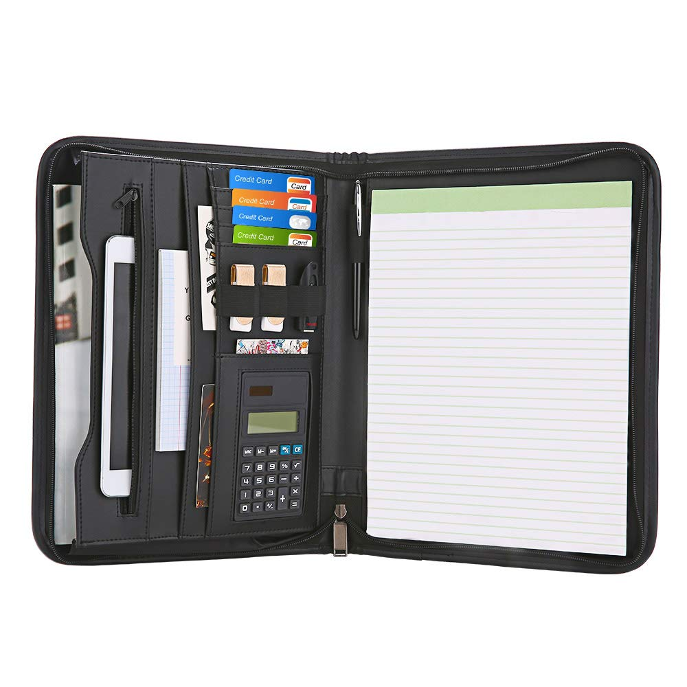 Uncle Martin Zippered Padfolio with Calculator, Black PU Leather Portfolio Organizer, Professional Interview Resume Business for Men Women, Interior 10.1 Inch Table Sleeve