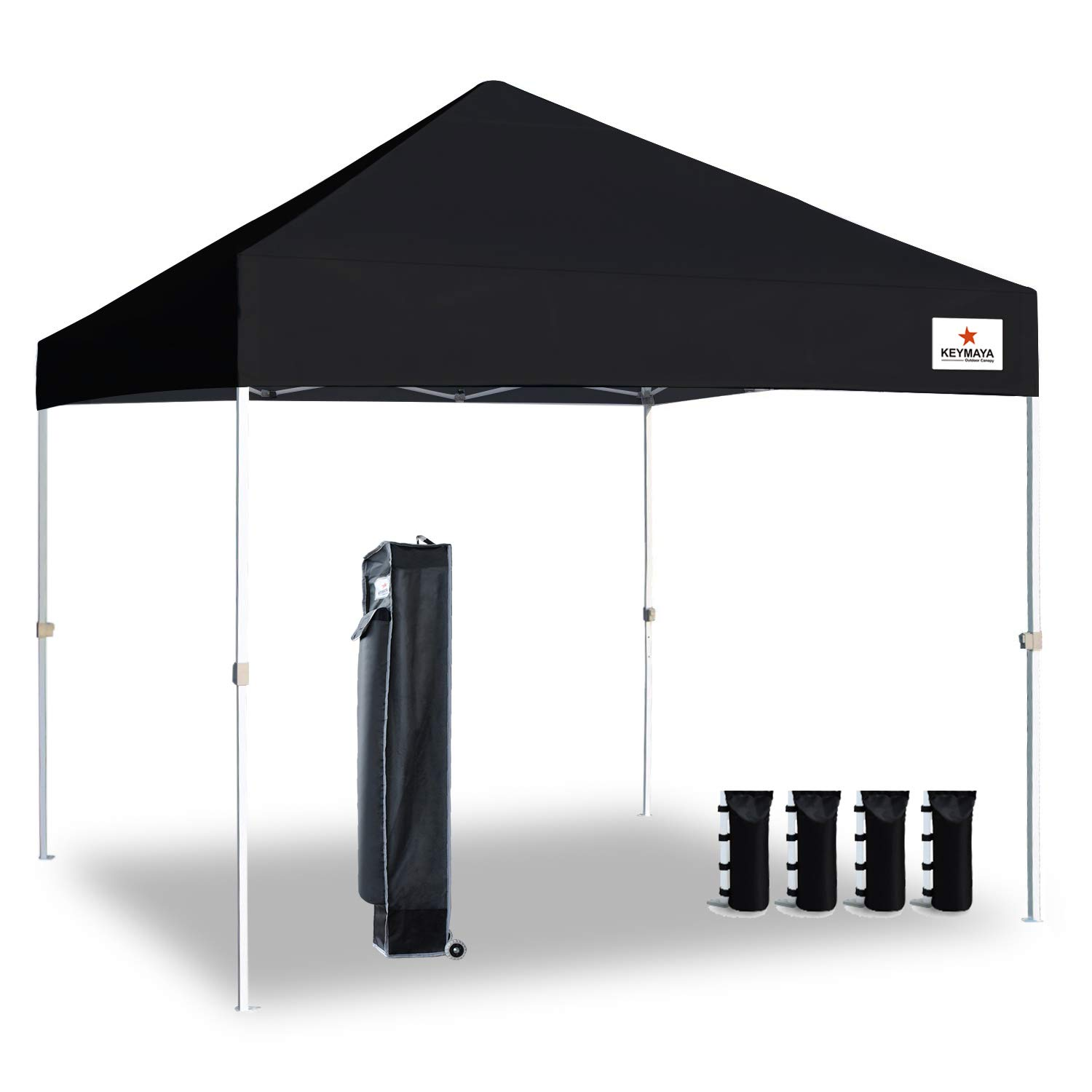 Keymaya 10'x10' Ez Commercial Instant Tent Heavy Duty Pop-up Canopy Shelter Bonus Weight Bag 4-pc Pack (Black)
