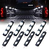 Xprite Truck Bed Lighting Kit w/Switch,for Trucks, Trailers, Pickups, RVs, Vans,Boat and Cargos, Underglow Underbody System Decorative Rock Light Accessories,8pc High Intensity LED - White