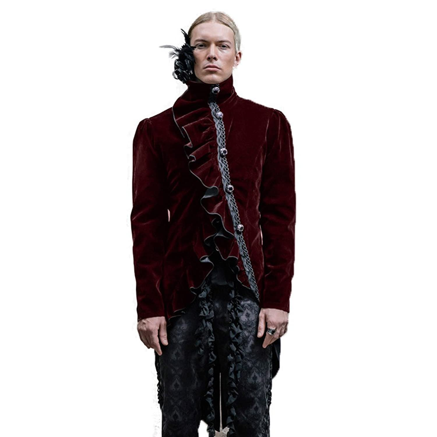 Gohic Mens Winter Swallow-tailed Coat Steampunk Long Sleeve Asymmetric Black Jacket With Feather