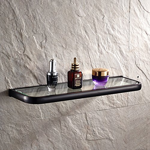 Neoclassic Style Bathroom Wall Mount Single Layer Rectangle Glass Shelf Black Oil Rubbed Bronze Finish Bathroom Storage Bathroom Accessories Holder