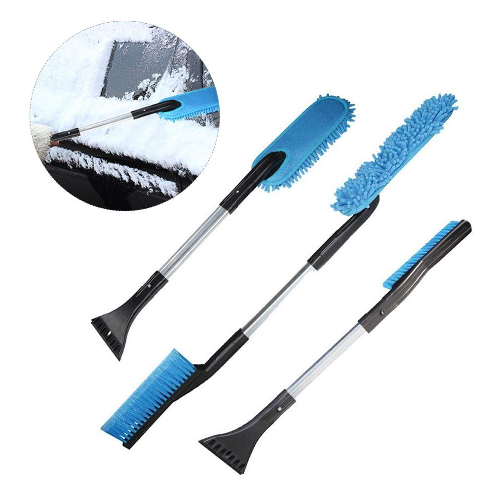 Dire-wolves Snow Ice Scraper, 3 In 1 Multi Funtional Detachable Car Snow Removal Brush Snow Shovel Winter Cleaning Brush For Car Window Windshield Glass Scrape Frost Ice