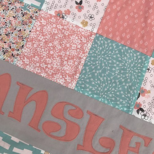 Personalized Aqua Blue (Teal ) and Coral (Peach) Bohemian Woodland Baby Girl Quilt - Crib or Toddler Size