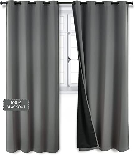 Bedsure 100 Grey/Gray Blackout Curtains 84 inches