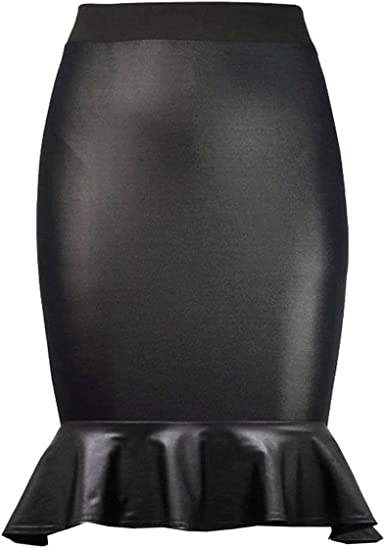 New Womens Wet Look Shiny Faux Leather Ladies Pencil Frill Hem Pencil Midi Skirt