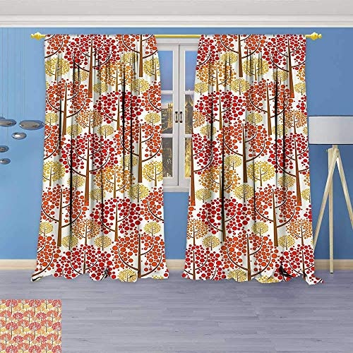 VANKINE Embossed Thermal Weaved Grommet Blackout Curtains Forest Inspired Trees with Dot Leaves Fall Elegance Graphic Red Marigold Light Caramel Blocks up to 80% of Sunlight- Premium ()