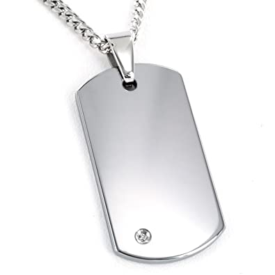 Amazon crucible tungsten carbide diamond dog tag pendant curb crucible tungsten carbide diamond dog tag pendant curb chain necklace 24quot aloadofball Image collections