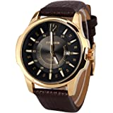 Curren Luxury Golden Case Black Dial with Date Display Faux Leather Strap Analog Men's Watch - M8123