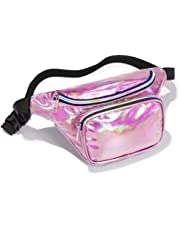 Holographic Fanny Pack for Women Man, Ace Teah Iridescent Wasit Pack with Adjustable Belt, 80s Shiny Neon Waist Belt Bag for Rave, Party and Festivals