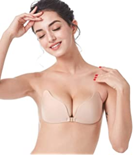 144f4c2ac6342 MITALOO Push Up Strapless Sticky Adhesive Invisible Backless Bras Plunge  Reusable Magic Bra for Women