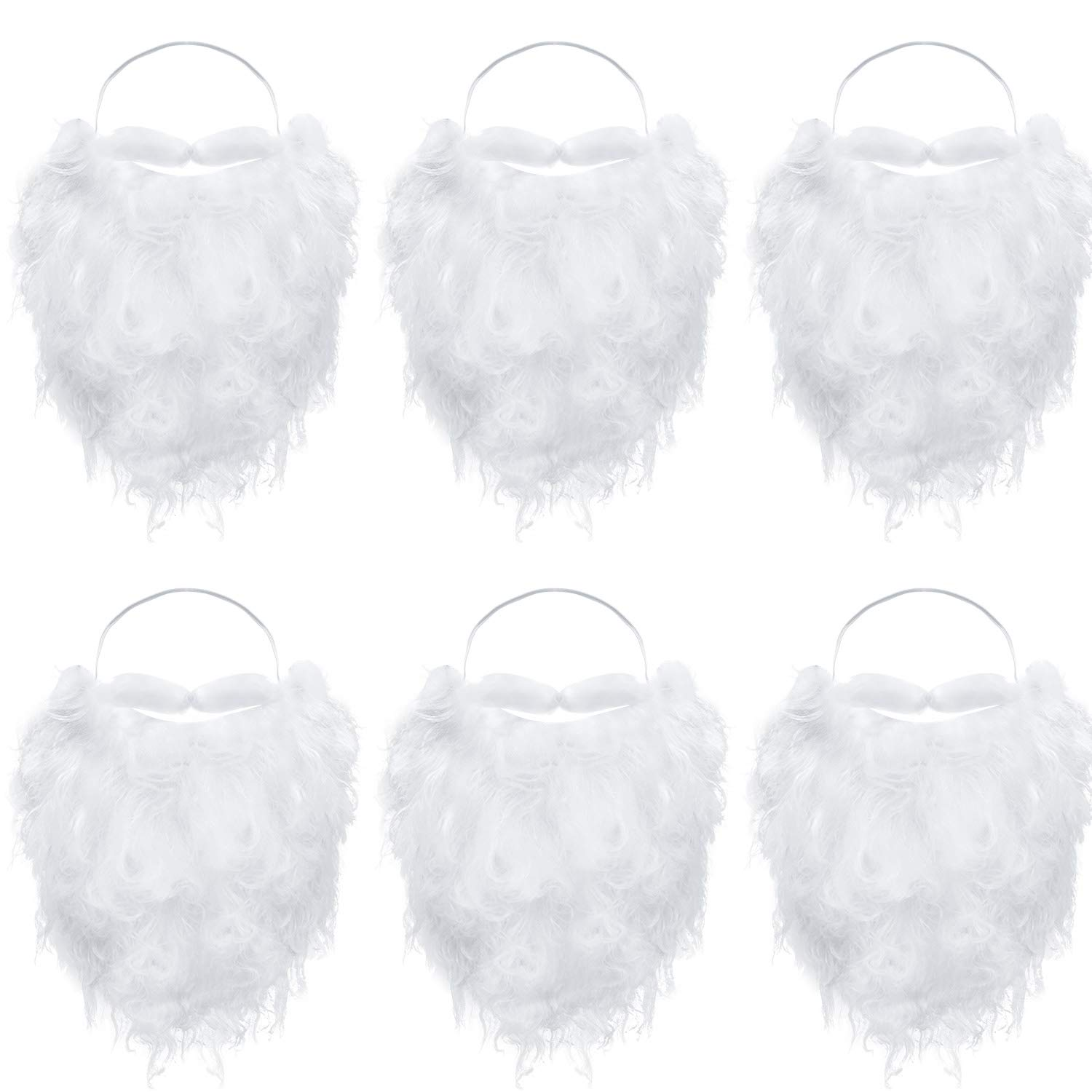 6 Pieces Funny Santa Beard Costume White Fake Beard Christmas Santa Claus Beard Costume Accessories for Teens Adults Disguise Santa Claus on Christmas Party