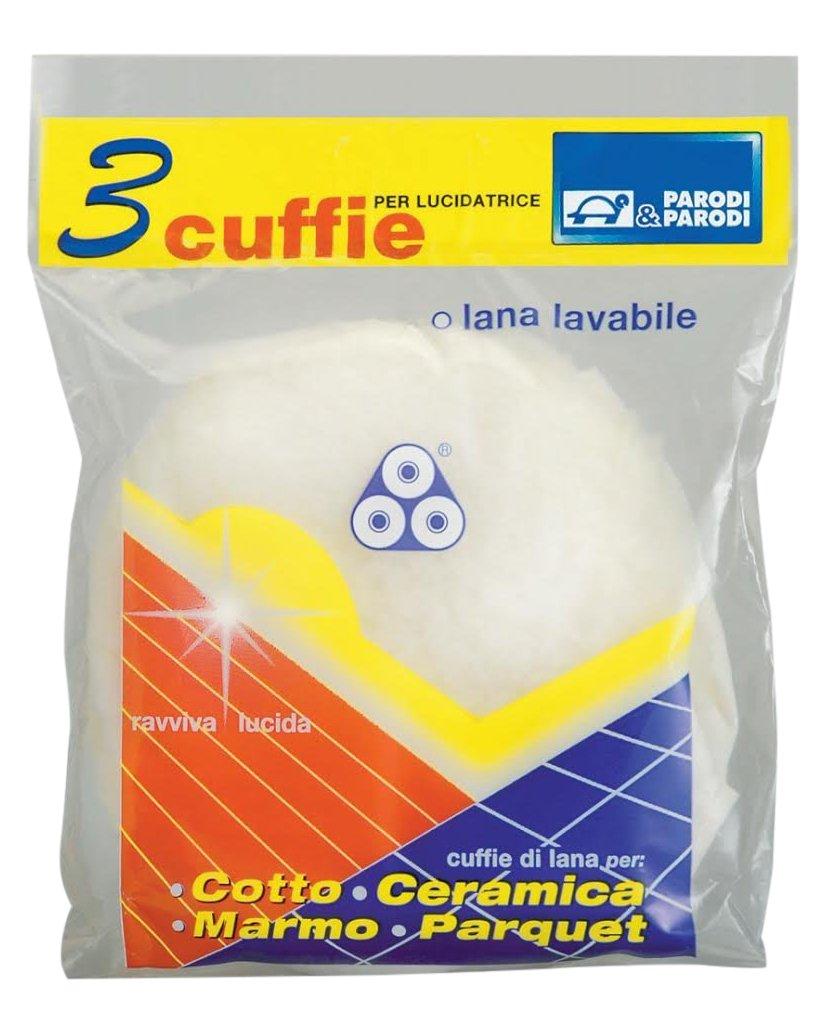 Parodi& Parodi Pulizia Cuffia Lana 3 Dischi Lucidatrice, Tessuto, Bianco, 14x23x1 cm, 3 unità Parodi & Parodi S.r.l. 127