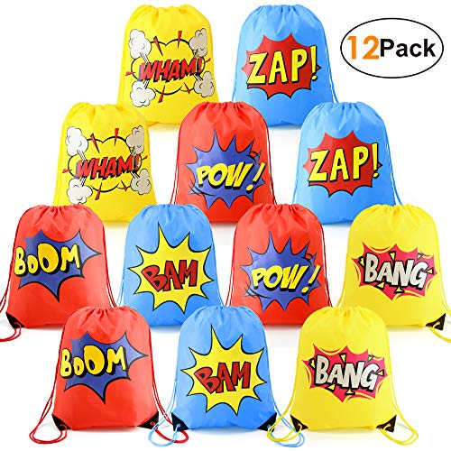 Superhero-Party-Supplies-Favor-Bags-Drawstring Backpack 12 Pack Cinch Bag Bulk for Kids Girls Boys Birthday Gifts Yellow Blue Red ()