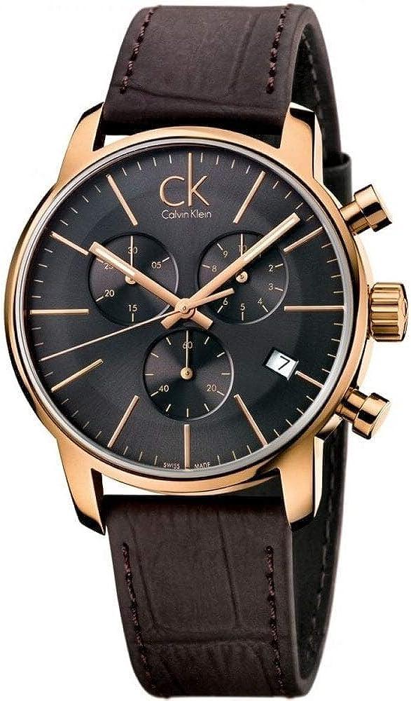 City Calvin Klein ck de piel para hombre reloj cronógrafo K2G276G3