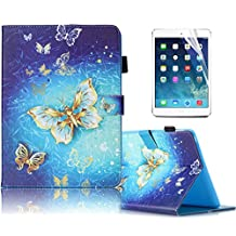 Samsung Galaxy Tab4 7.0 inch,T230 Case, Sunroyal PU Leather Flip Holder Protective Case Magnet Design Flip Wallet Case Samsung Galaxy Tab 4 7.0 SM-T230NU 7-Inch Tablet + Screen Protector,Gold Butterfly