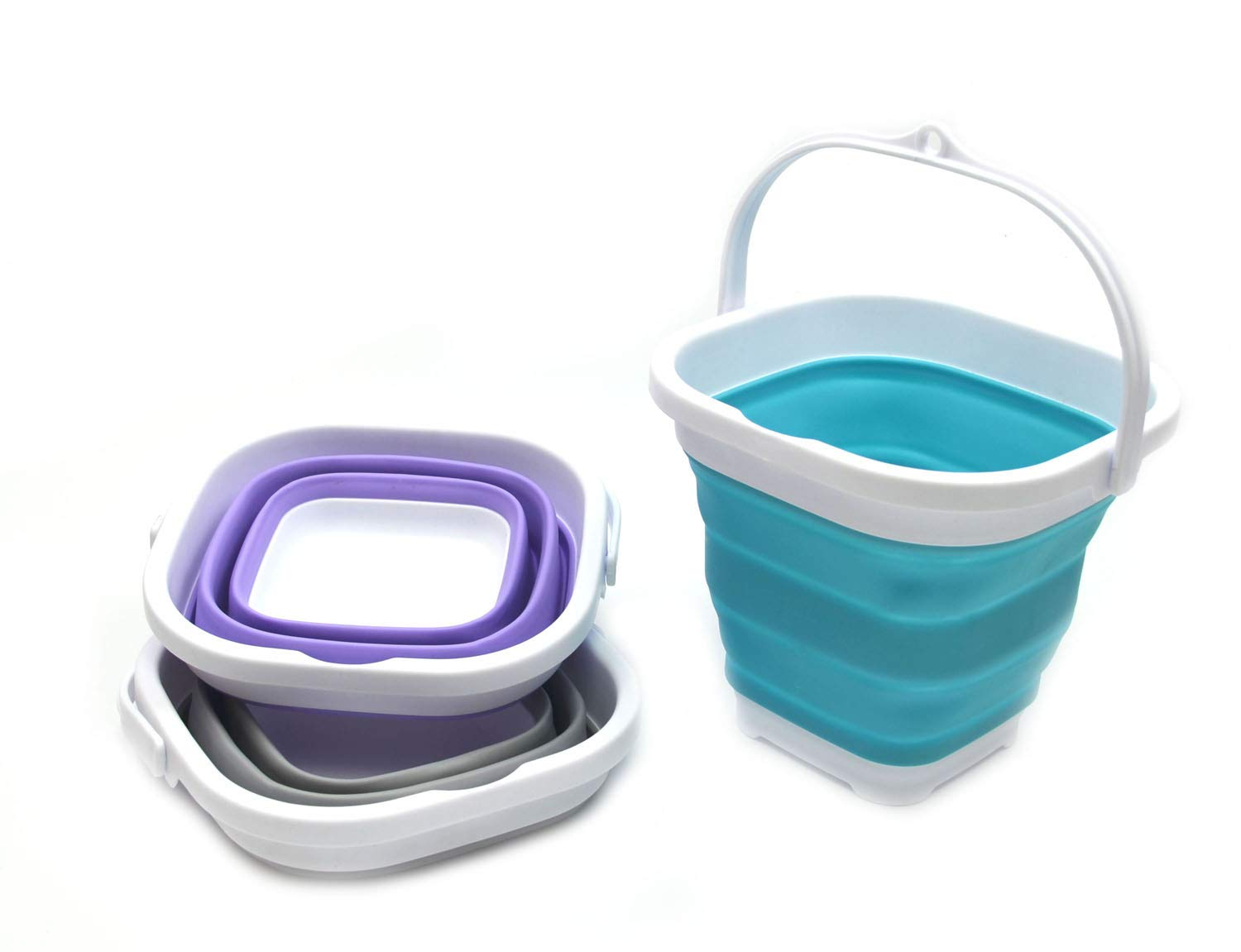 SAMMART Set of 3 Super Mini Sqare Collapsible Plastic Bucket - Foldable Square Tub - Portable Fishing Water Pail - Space Saving Outdoor Waterpot (3)