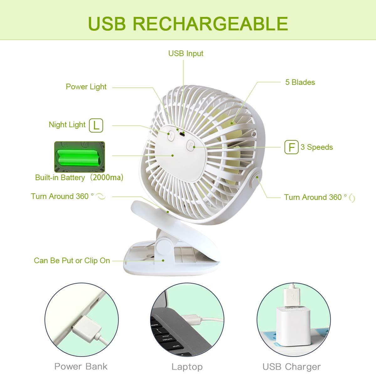 ICODE Sports Clip On Desk Fan with Night Light Baby Stroller Fan USB Rechargeable Personal Portable Mini Fan,360/° Rotation,2000mAh Battery