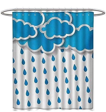 Rain Shower Curtains Digital Printing Trippy Convective Cloud Group Figures Like Savannah Forecast Drips Theme Autumn