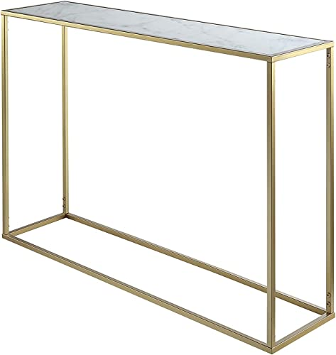 Convenience Concepts Gold Coast Faux Marble Console Table, Gold Faux Marble
