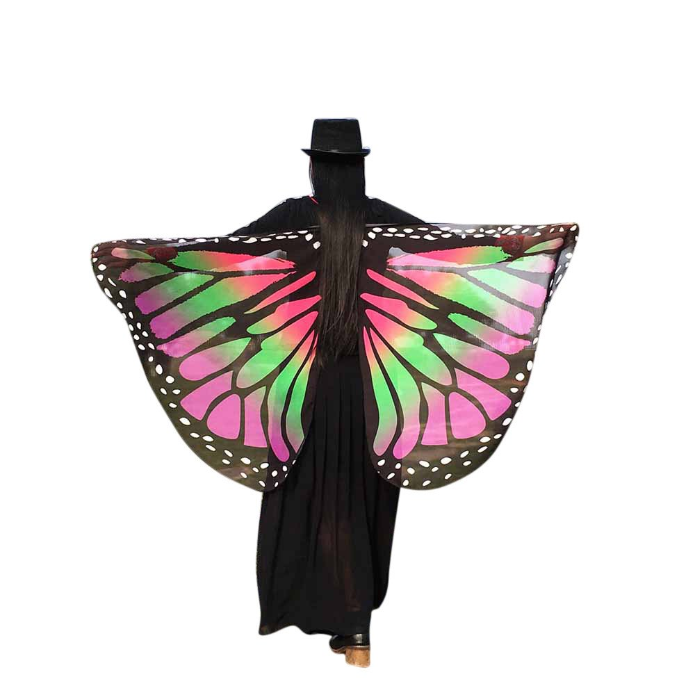 WOCACHI Vanlentine Day Halloween Costume Butterfly Wings Scarves, Women Cloak Cape Poncho Pixie Party Show Pink