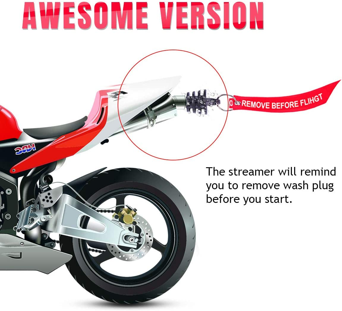 0.6-1.5 Wash Plugs 1 RED+1 BLACK 2 Pack Mufflers Exhaust Silencer Motorcycle Dirt Bike 2 Stroke w//Streamer Remove Before Start Engine ATV Quad Rubber Exhaust Pipe Plugs
