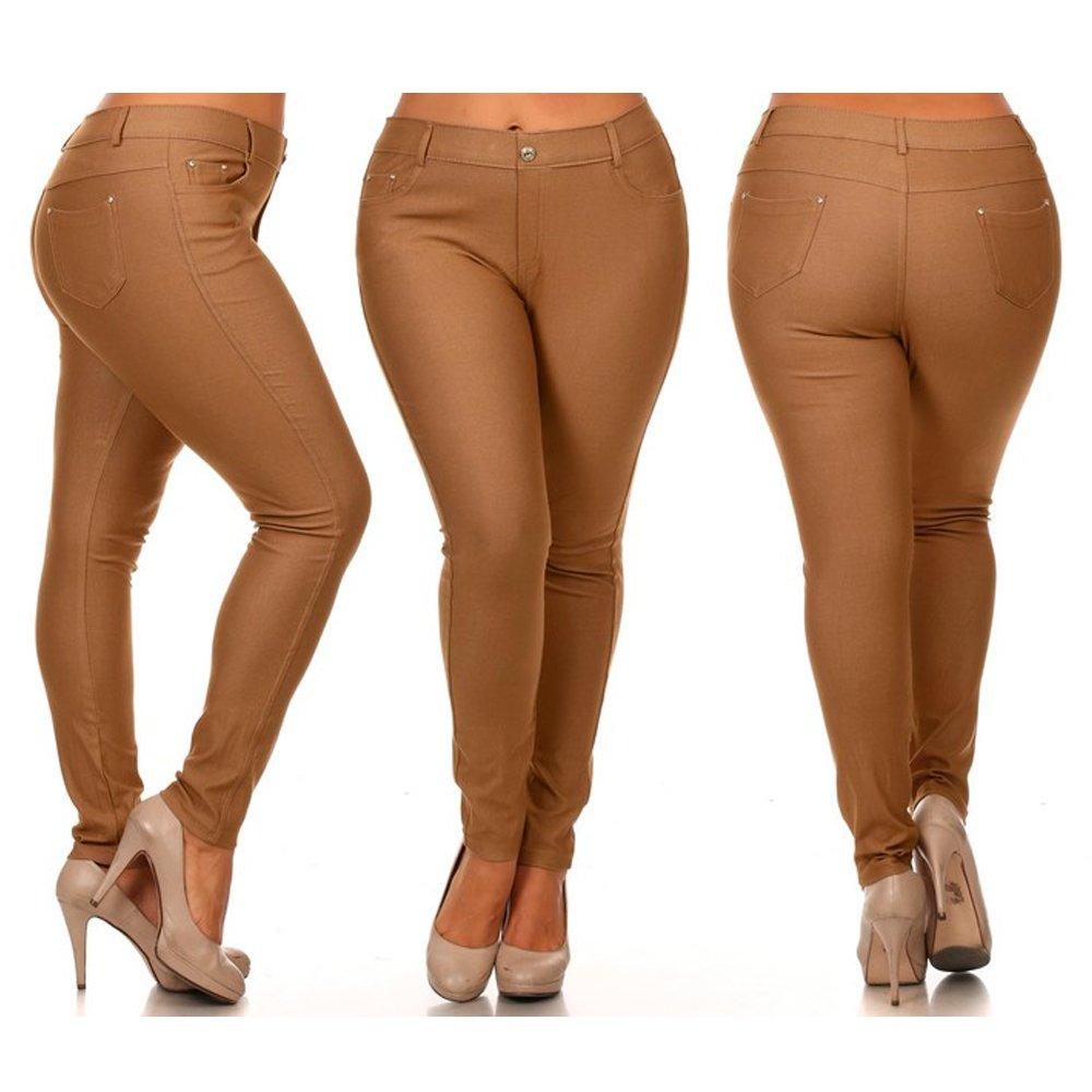 Womens Plus Size Jeggings Cotton Skinny Jeans Look Stretch Khaki Gold Pants 2XL