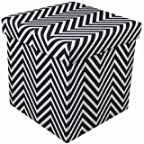 Sorbus Chevron Storage Ottoman Cube – Foldable/Collapsible with Lid Cover – Perfect Hassock, Foot Stool, Toy Storage Chest, and More (Small-Ottoman, Chevron Black) Review