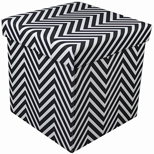 Sorbus Chevron Storage Ottoman Cube – Foldable/Collapsible with Lid Cover – Perfect Hassock, Foot Stool, Toy Storage Chest, and More (Small-Ottoman, Chevron Black)