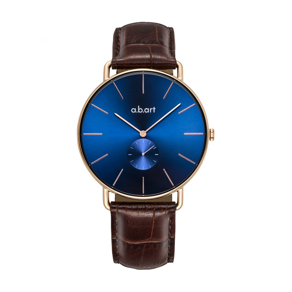 a.b .art FR36-013-4L Women Crack Oily Calf Leather Strap Blue Dial Gold Watch Wrist Watches