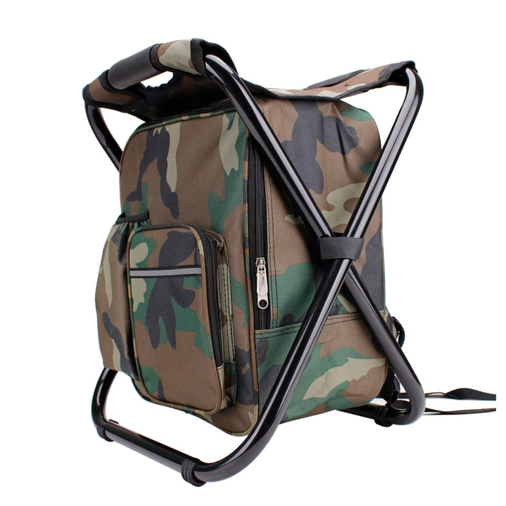 Camouflage Lightweight Backpack Cooler Chair, Compact and Portable Folding Stool with Cooler Insulated Picnic Bag,Perfect for Outdoor Events, Travel, Hiking, Camping, Tailgating, Beach, Parades & More