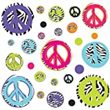 zebra print wall decals - ROOMMATES RMK1860SCS Zebra Peace Signs Peel and Stick Wall Decals