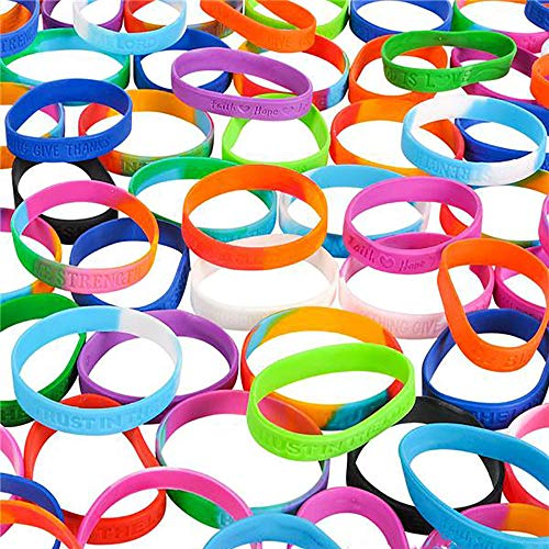 Assorted Religious Saying Bracelets  100 Pieces, Gift for Yourself, Best Friends Forever, Community Outreach Giveaways, Souvenir Shop Item, Game Prizes, Fundraising Campaign, Worship Concerts