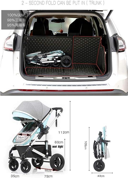 Yhz@ Cochecito de beb/é Plegable Ligero del Amortiguador de los ni/ños Empuje los carros del beb/é Infantil Carro de aleaci/ón de Aluminio Marco Sillas de Paseo Color : Negro