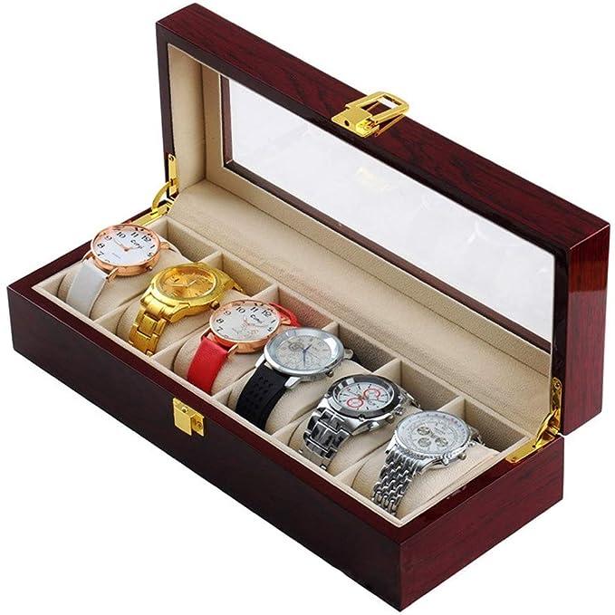 Caja de Reloj de Madera Maciza Organizador Caja de Madera de ...