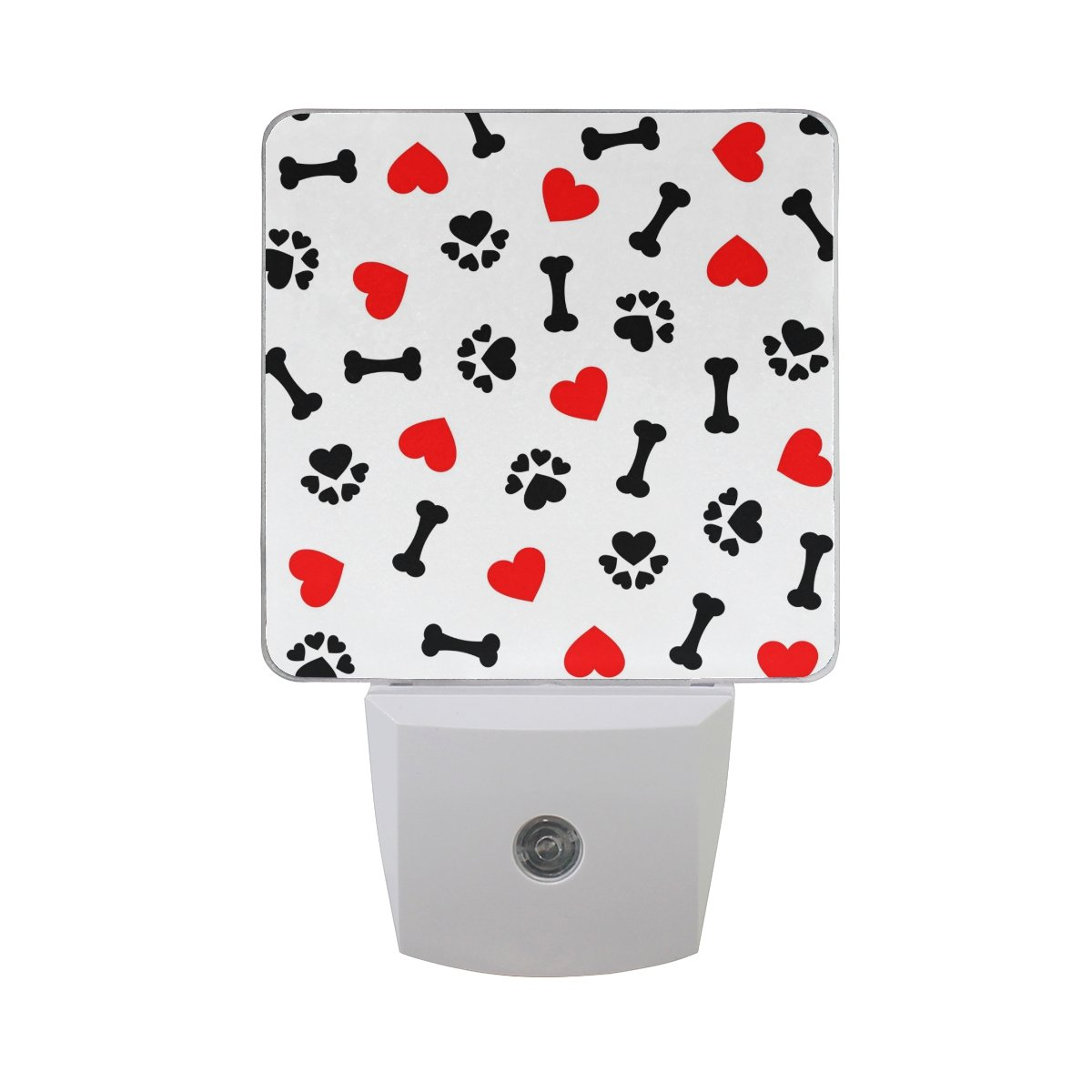 JOYPRINT Led Night Light Animal Dog Paw Print Bones Love Heart, Auto Senor Dusk to Dawn Night Light Plug in for Kids Baby Girls Boys Adults Room
