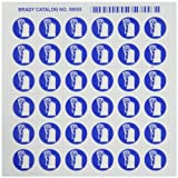 Brady 58555 Pressure Sensitive Vinyl Right-To-Know Pictogram Labels , Blue On White,  3/4'' Height x 3/4'' Width,  Pictogram ''Gloves'' (36 Per Card,  1 Card per Package)