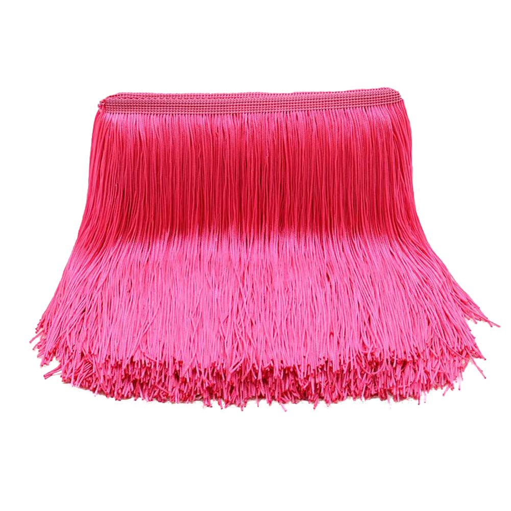 MELADY Pack of 10yards DIY Fringe Trim Lace Tassel Latin Dress Stage Clothes Lamp Shade Curtains Decoration (Fluorescent Pink) by MELADY