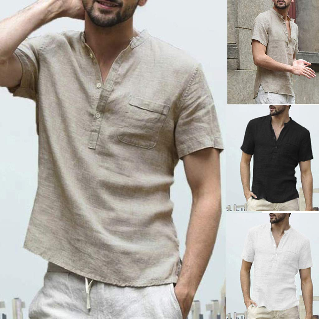 Corriee 2019 Gift Idea Men's Solid Color Cotton Linen Button Up Loose Fit Short Sleeve Shirt Pullover Tops Blouses White by Corriee (Image #5)