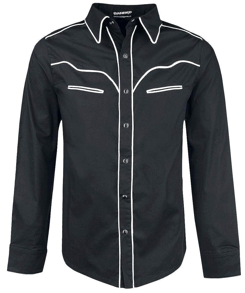 Banned Trim Hemd schwarz weiß, Schwarz, 5XL