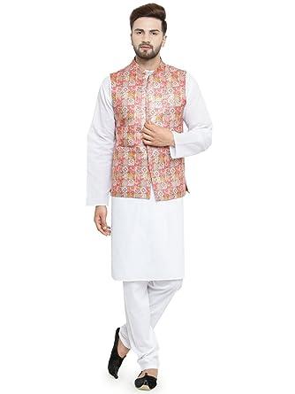 88842cf355 Luxurazi Men s Kurta Pyjama with Waist Coat (3Whitekurtajacketset White 44  - Regular)