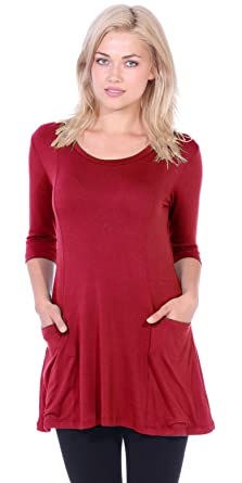 2cfdc0d3b6a58 Popana Women s Tunics with Pockets - Loose Fit Round Neck Tunic Top to Wear  with Leggings
