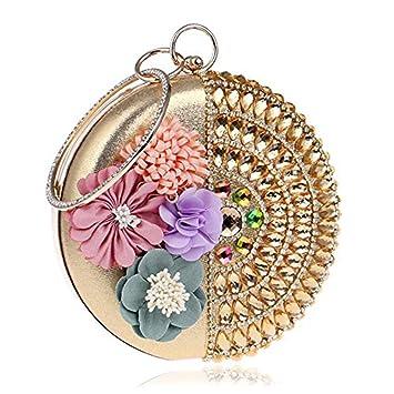 Mindruer Cartera de Mano, Embragues de Mujer con Diamantes Broche de Novia Vestido de Novia de Fiesta con Flores, Dorado: Amazon.es: Hogar
