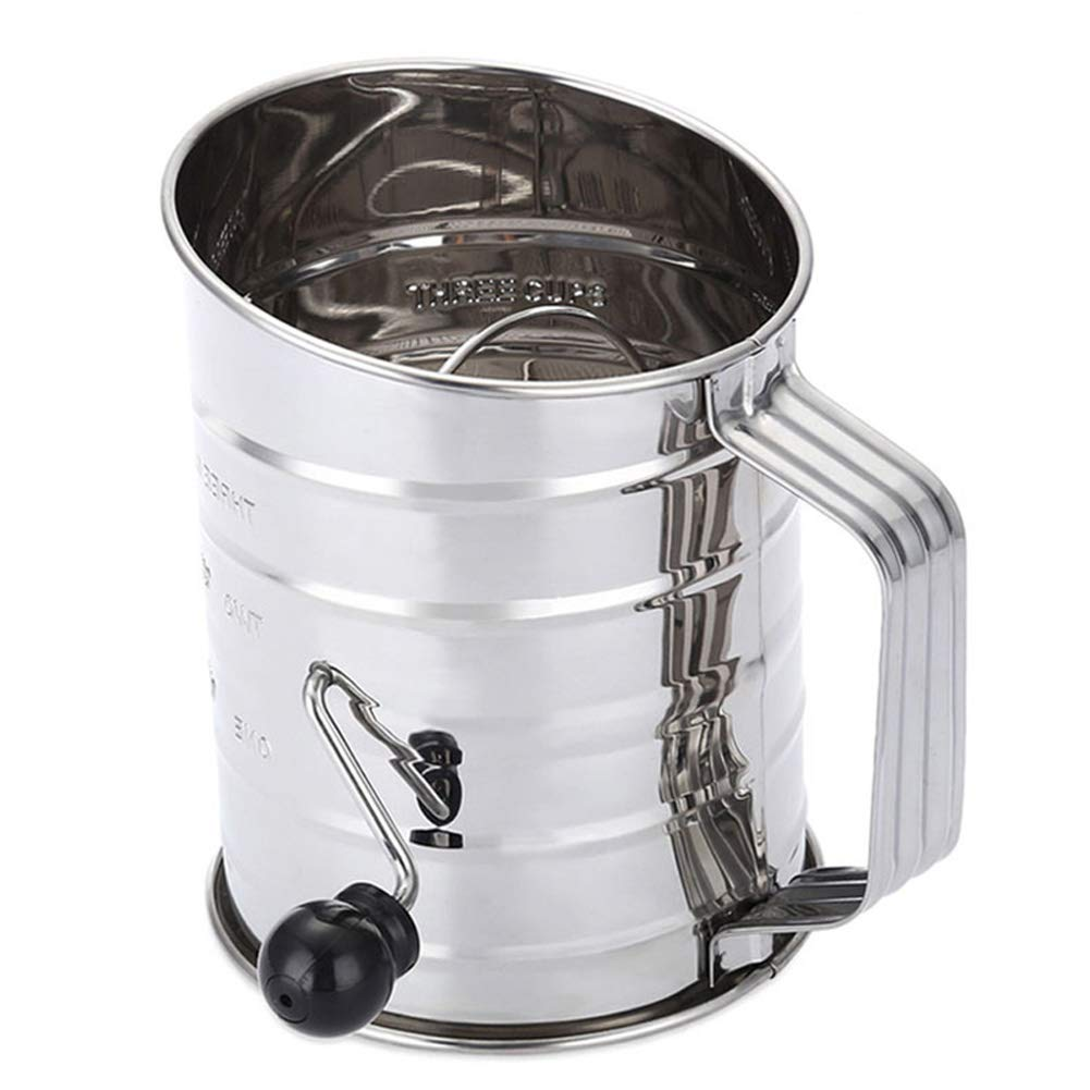 Trkee 3-Cup Stainless Steel Rotary Hand Crank Flour Sifter Hand-held Agitator Rotary Hand Crank