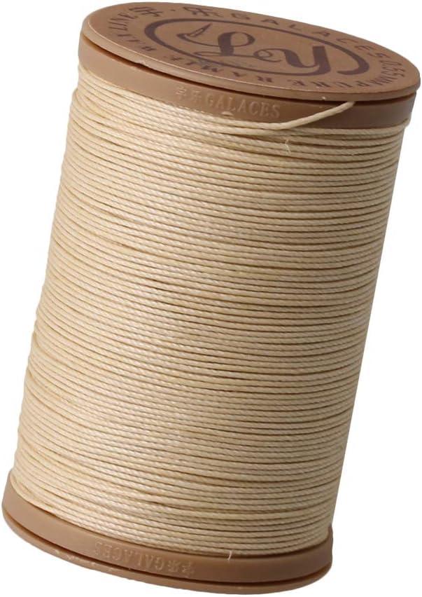 0.55mm Beige Round Ramie Waxed Linen Sewing Cord Wax String Stitching Thread