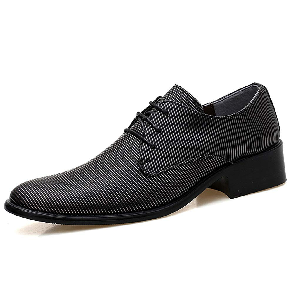 Hilotu Mens Business Oxford Shoes Casual Classic Round toe Rubber Outsole Comfortable Formal Dress Shoes