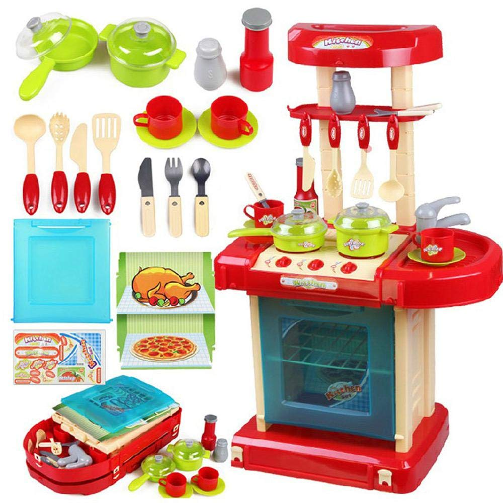 Red Play Kitchen Pots and Pans Set, Hamkaw Toddler Pretend Play Kitchen Set w Pots, Pans, Other Kids Play Kitchen Utensils for Boys & Girls