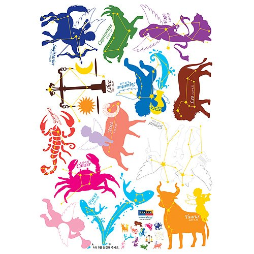 Nursery Easy Apply Wall Sticker Decorations - Complete Zodia