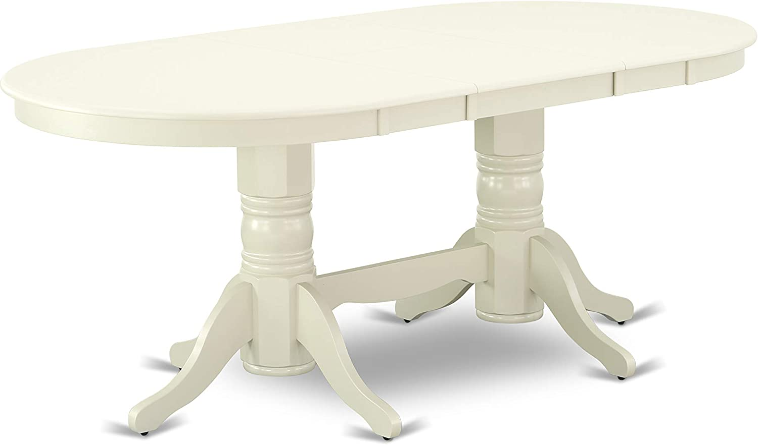 """VAT-LWH-TP Vancouver Oval Double Pedestal dining room Table with 17"""" Butterfly Leaf in Linen White Finish"""
