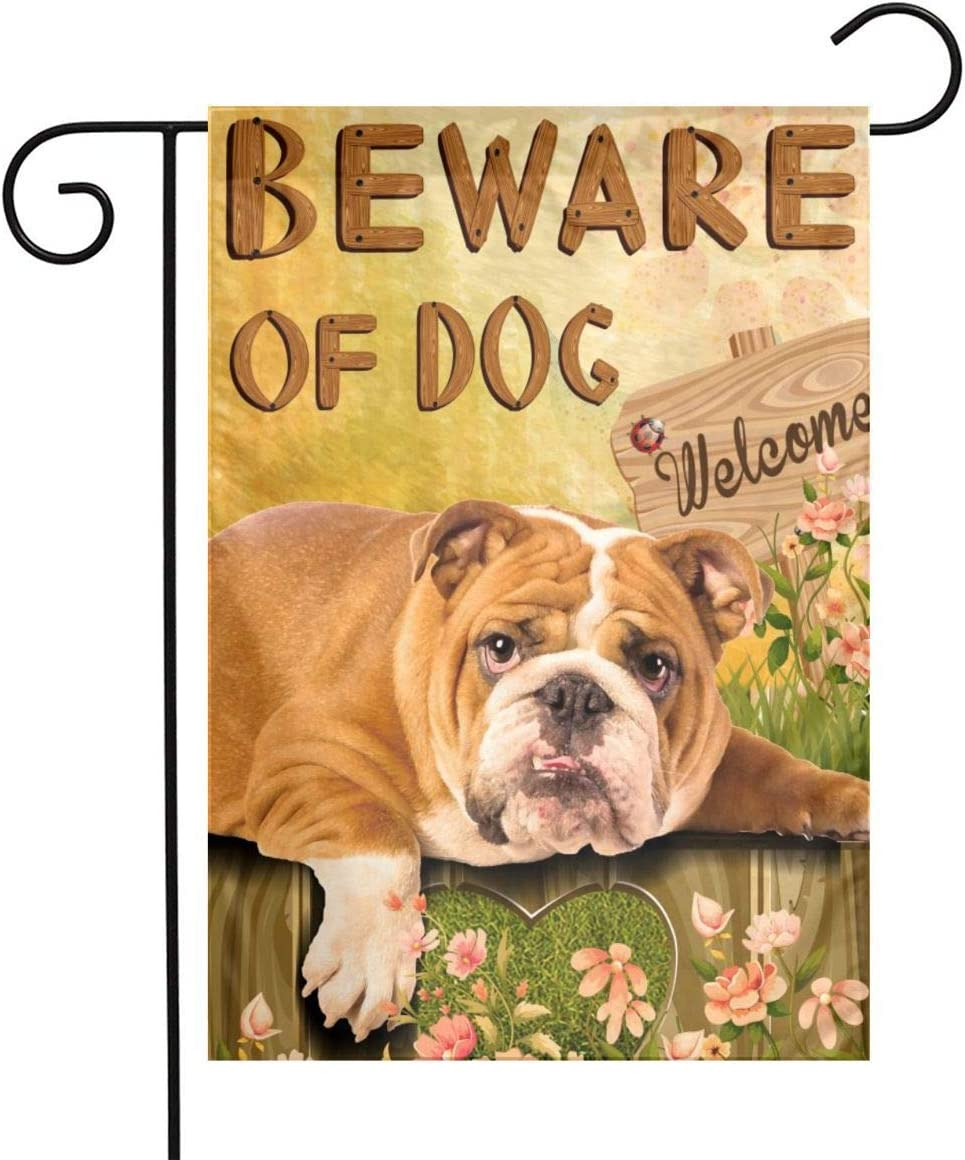Lazy English Bulldog Garden Flag - Beware of Dog House Flags Double-Sided Welcome Home Flag Dogs Yard Flags Small Yard Patio Lawn Decor 12 x 18 Inches Gifts for Pet Lovers