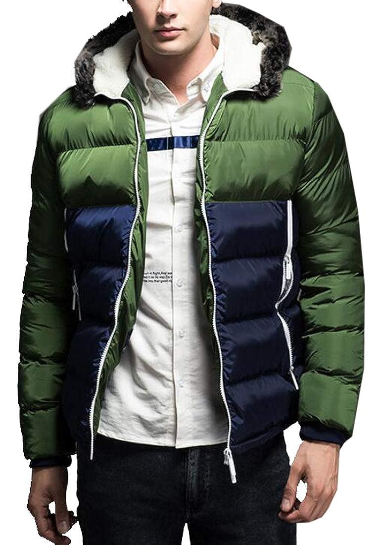MOUTEN Men Contrast Warm Winter Faux Fur Hooded Down Quilted Jacket Coat Outwear